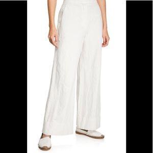 LAMB White Linen Trousers Wide Leg Cuffed Lined 0